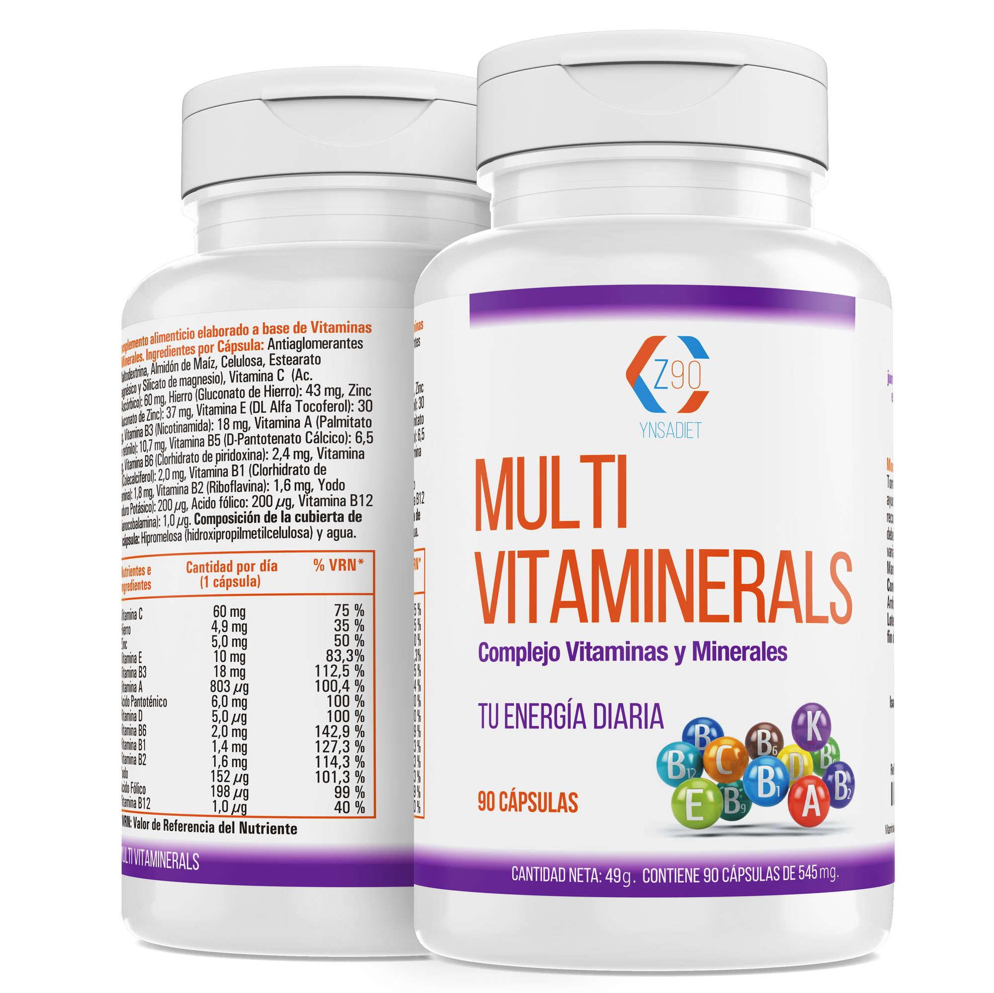 Vitamin with minerals, vitamin C and B2, B3, B5, B6 and B12 mas iron, multivitamino for exhaustion 90Capsulas (three months)