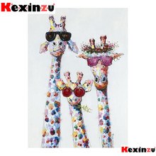 kexinzu 5d diy Diamond Painting kit Giraffe sunglasses Cross stitch Diamond Embr