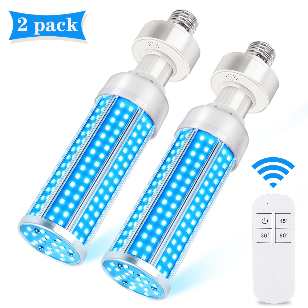 2Pack 60W UV Germicidal E27 Lampada Uv Germicida UCV Ultraviolet Disinfection Sterilizer Lights Remote Control Kill Virus Mite
