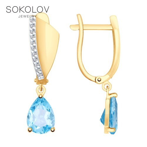 SOKOLOV Drop Earrings With Stones With Stones With Stones With Stones With Stones With Stones With Stones With Stones With Stones With Stones With Stones Of Gold With Topaz And Cubic Zirconia Fashion Jewelry 585 Women's Male