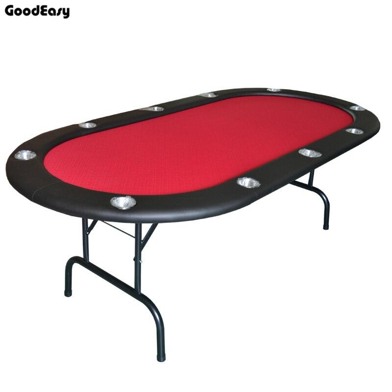 213*107*76cm Casino Table de Poker pliable Texas Hold'em Baccarat deux fois avec tissu imperméable 4 couleurs rouge/bleu/vert/noir