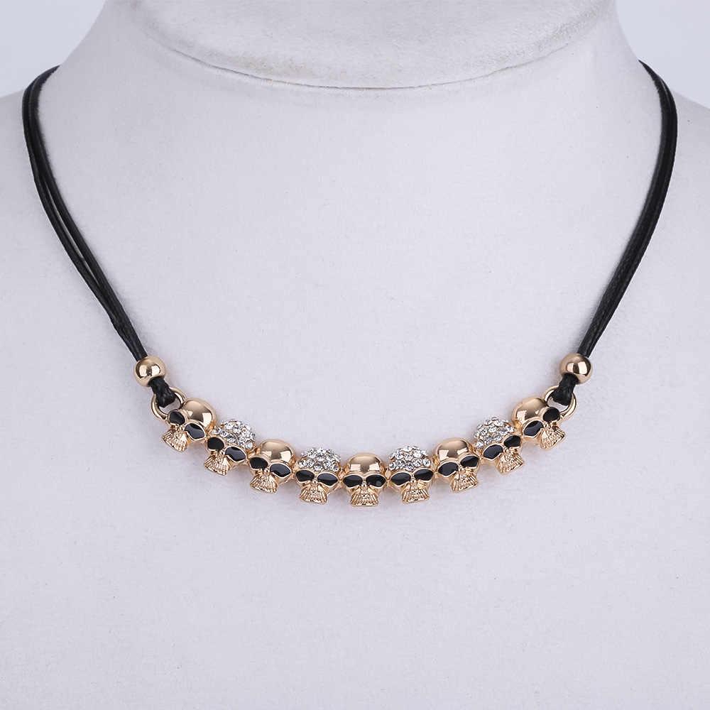 Moda Rock Punk czaszka naszyjniki łańcuch i wisiorki wyróżniająca się Collares naszyjnik Vintage szkielet pirata kobiety mężczyźni choker biżuteria