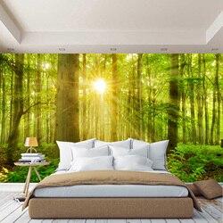Лес 3D фото обои на стену деревья, трава, солнце, обои для зала, кухни, спальни, фотообои расширяющие пространство
