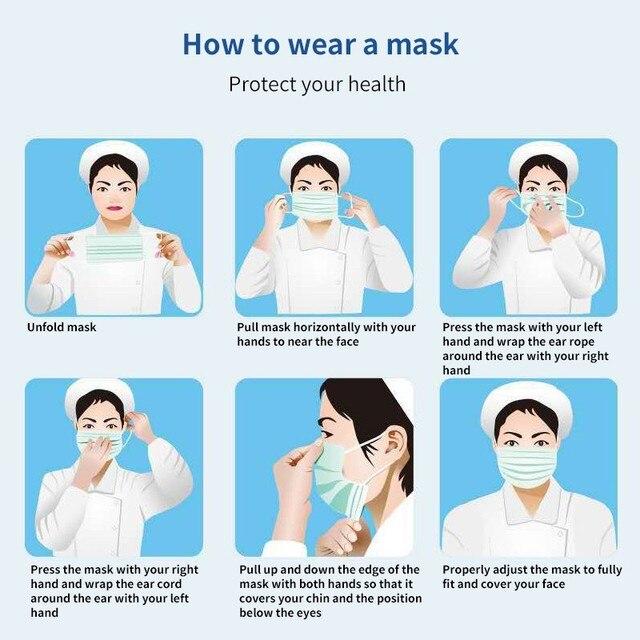 20Pcs Kids Mask Disposable Mouth Face Mask Cartoon Dustproof Non-Woven Fabric Protective Mask Anti-fog Anti-Flu 3 Layers Masks 2