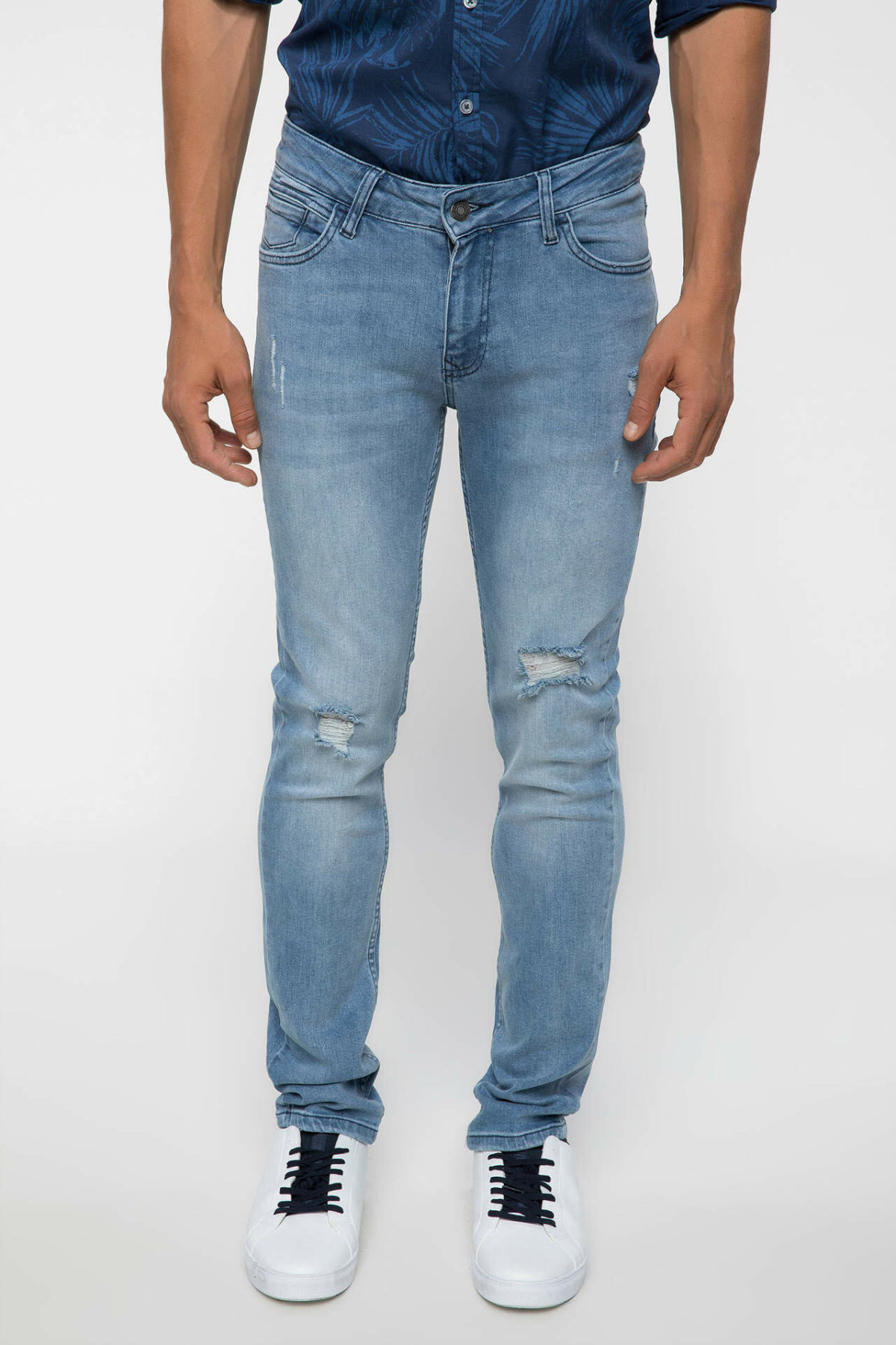 DeFacto Man Fashion Worn Blue Simple Trousers Jeans Casual Classic Denim Jeans Casual Loose Elasticity Pants Male -I7992AZ18HS