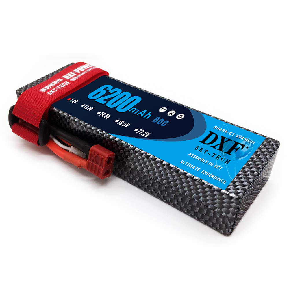 DXF 7.4V 6200mAh 80C Max 160C LiPo Battery Pack 2S HardCase For 1/8 1/10 RC Car Model TRX Slash Emaxx Band