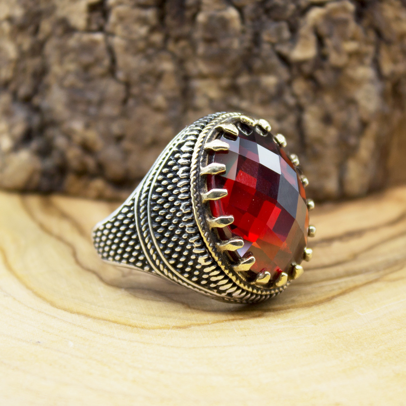 925 Sterling Silver Ring for Men Red Zircon Stone Agate Onyx Stone Jewelry fashion vintage Gift Rings All Size Made in Turkey