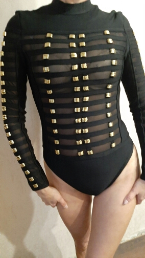 One Piece Bodysuit Women Spring Fashion Sexy Bodycon Bodysuit Long Sleeve Metal Ring Patchwork Mesh Bandage Bodysuits Women photo review