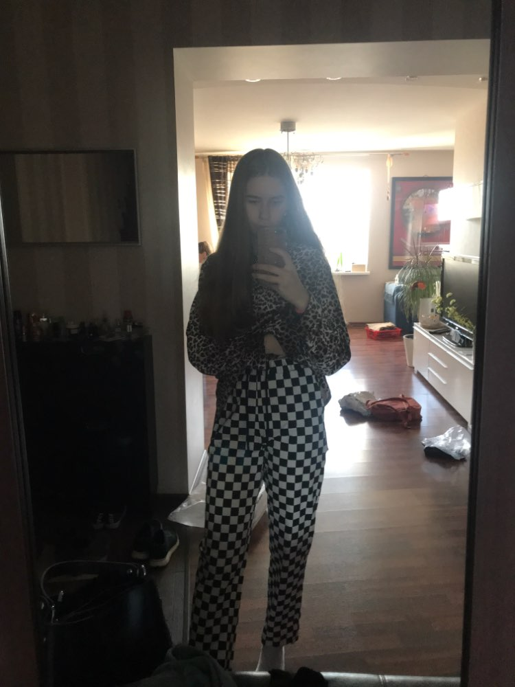 Checkered High Waist  Pants E-girl photo review