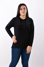 Women's Large Size Fronting Stone Black Blouse 2019