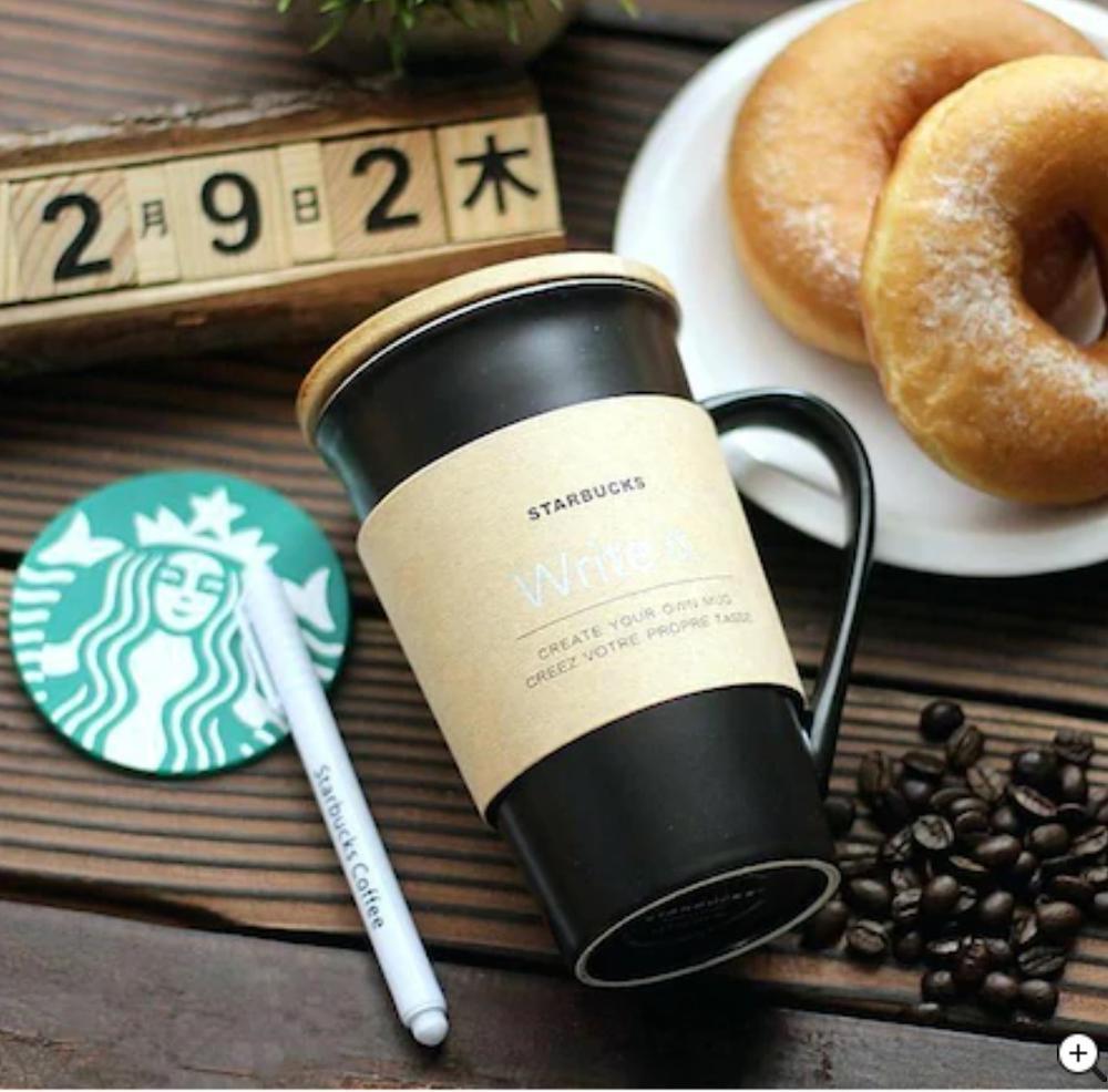Starbucks tasse à café en porcelaine | Inscriptible Starbucks tasse stylo blanc, tasse cadeau édition spéciale votre nom, verre chaud froid dur