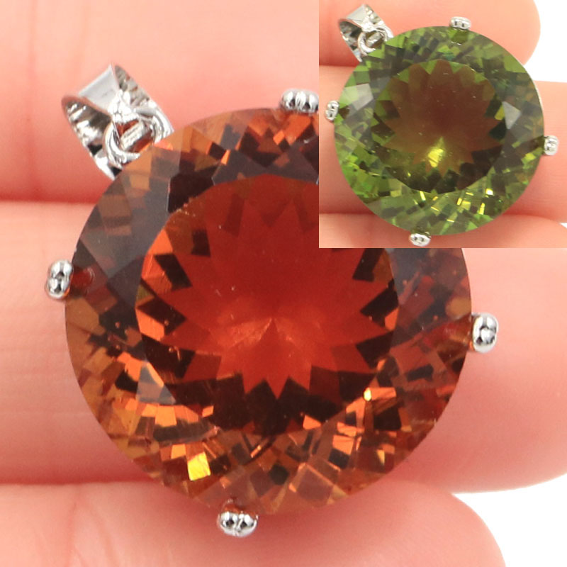 30x20mm Big Round Gemstone 20mm Created Color Changing Spinel Zultanite Woman's Party Silver Pendant