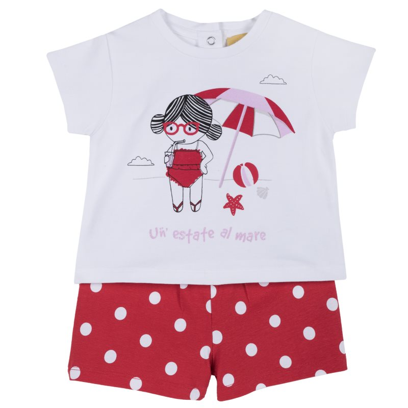 Set T shirt and shorts Chicco, size 086, print beach (white and red) plus size letter print striped t shirt