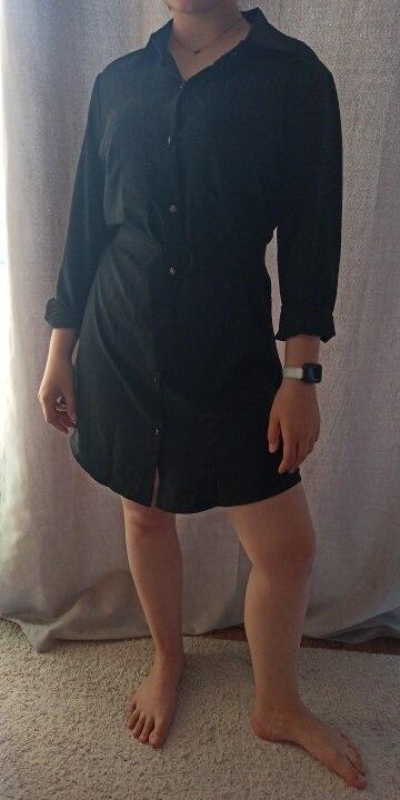 Fashion Casual Shirt Dress Fall Clothing Casual Solid Color Long Sleeve Button Turndowen Collar Women Mini Dress reviews №1 119852
