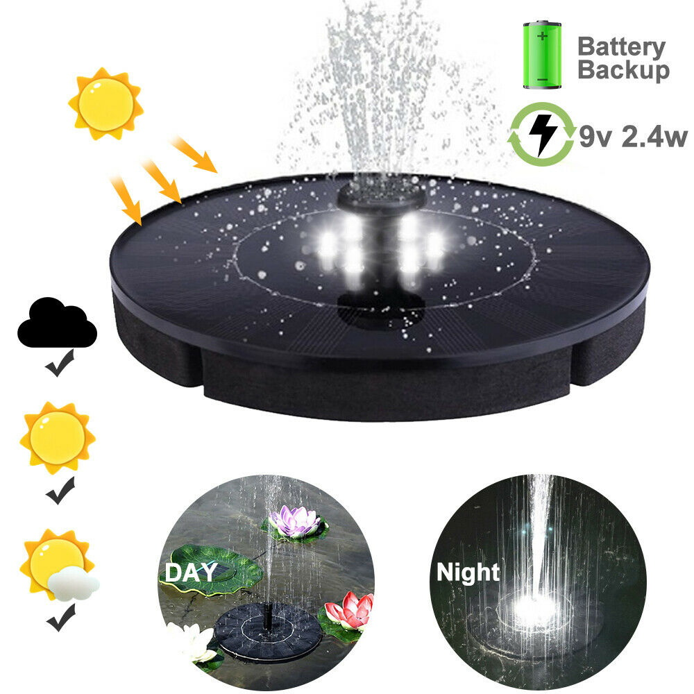 Water Pump Fountain Solar Power Floating Brushless With LED Night Lights New And Battery BNF