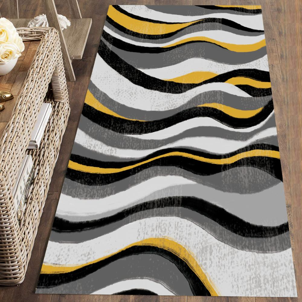 Else Gray Yellow Waves Stripes Lines Nordec 3d Print Non Slip Microfiber Washable Long Runner Mat Floor Mat Rugs Hallway Carpets
