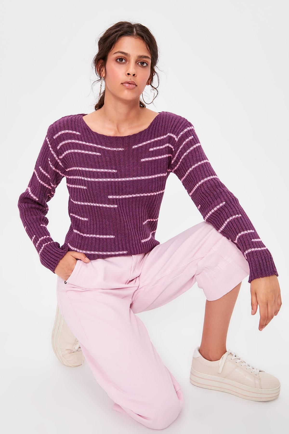 Trendyol Damson Striped Knitwear Sweater TWOAW20KZ0440
