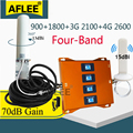 900 1800 2100 2600mhz Four-Band CellPhone Cellular Booster 4g Repeater GSM 2G 3G 4G Cellular Communication Amplifier GSM DCS LTE