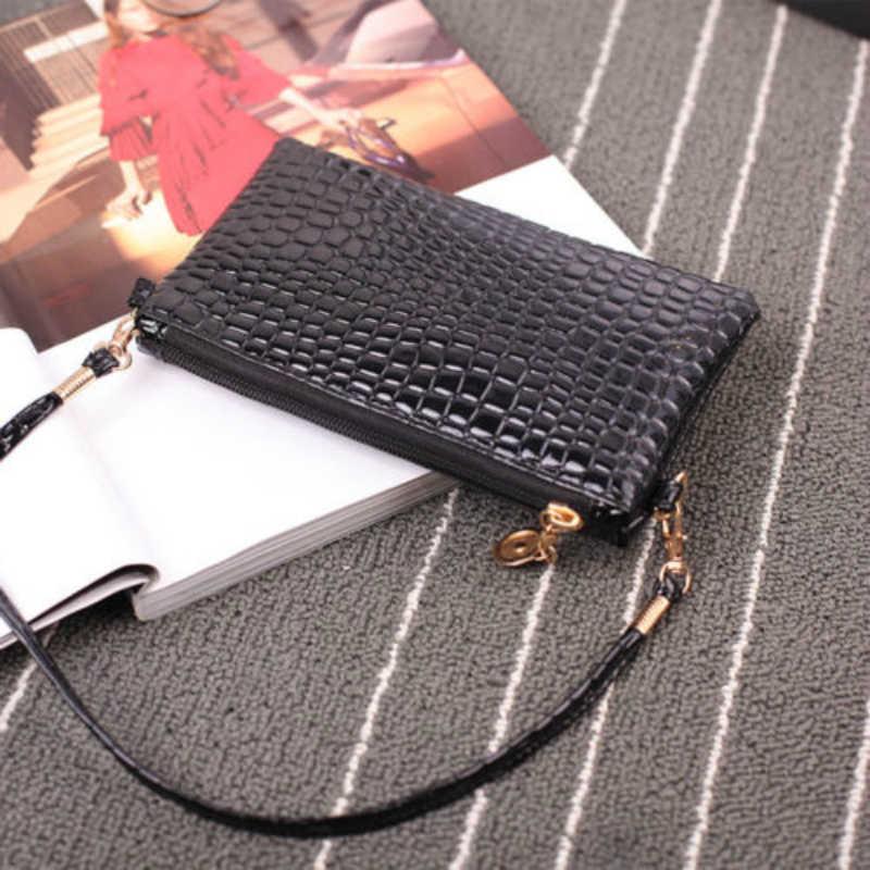 Moda mini saco de couro feminino bolsa de ombro moda crocodilo padrão zíper bolsa de embreagem cor sólida