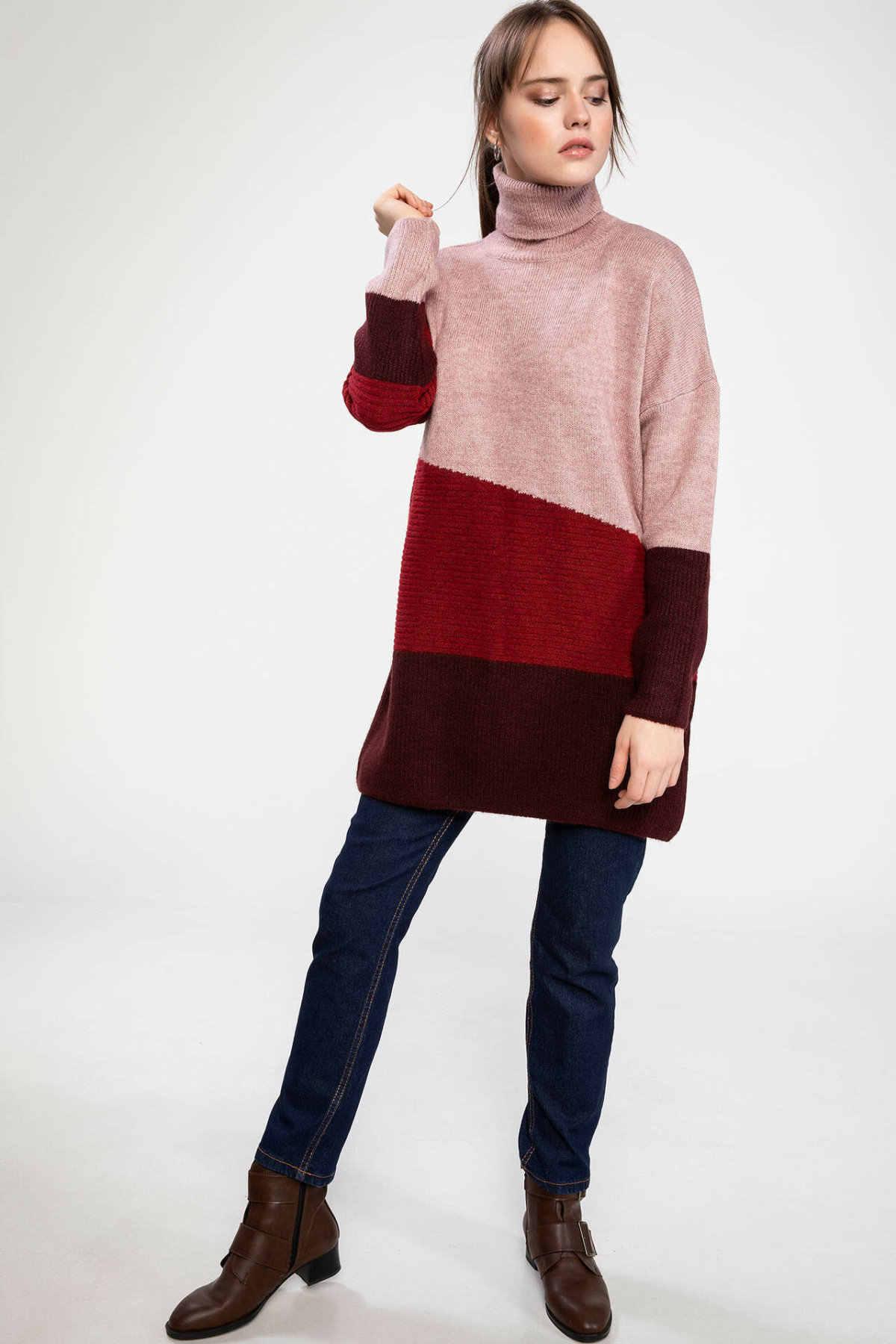 Defacto Wanita Musim Gugur Musim Dingin Tebal Pullover Wanita Turtleneck Merah Bergaris Rajutan Tops Pullover Wanita Panjang Tunic-J2977AZ18WN