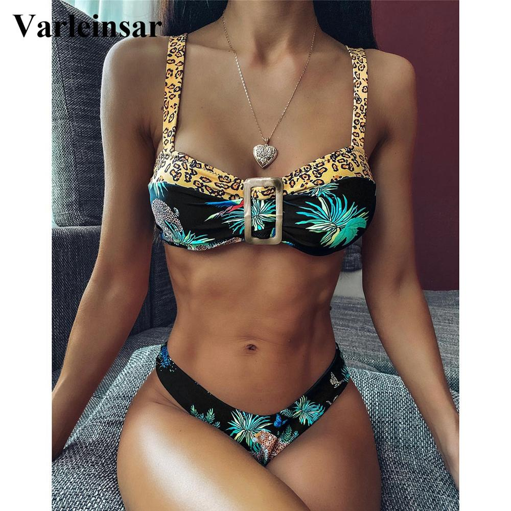 2020 NEW Sexy Printed Bikini Women Swimwear Female Swimsuit Two-pieces Bikini set High Cut Bather Bathing Suit Swim Wear V1792