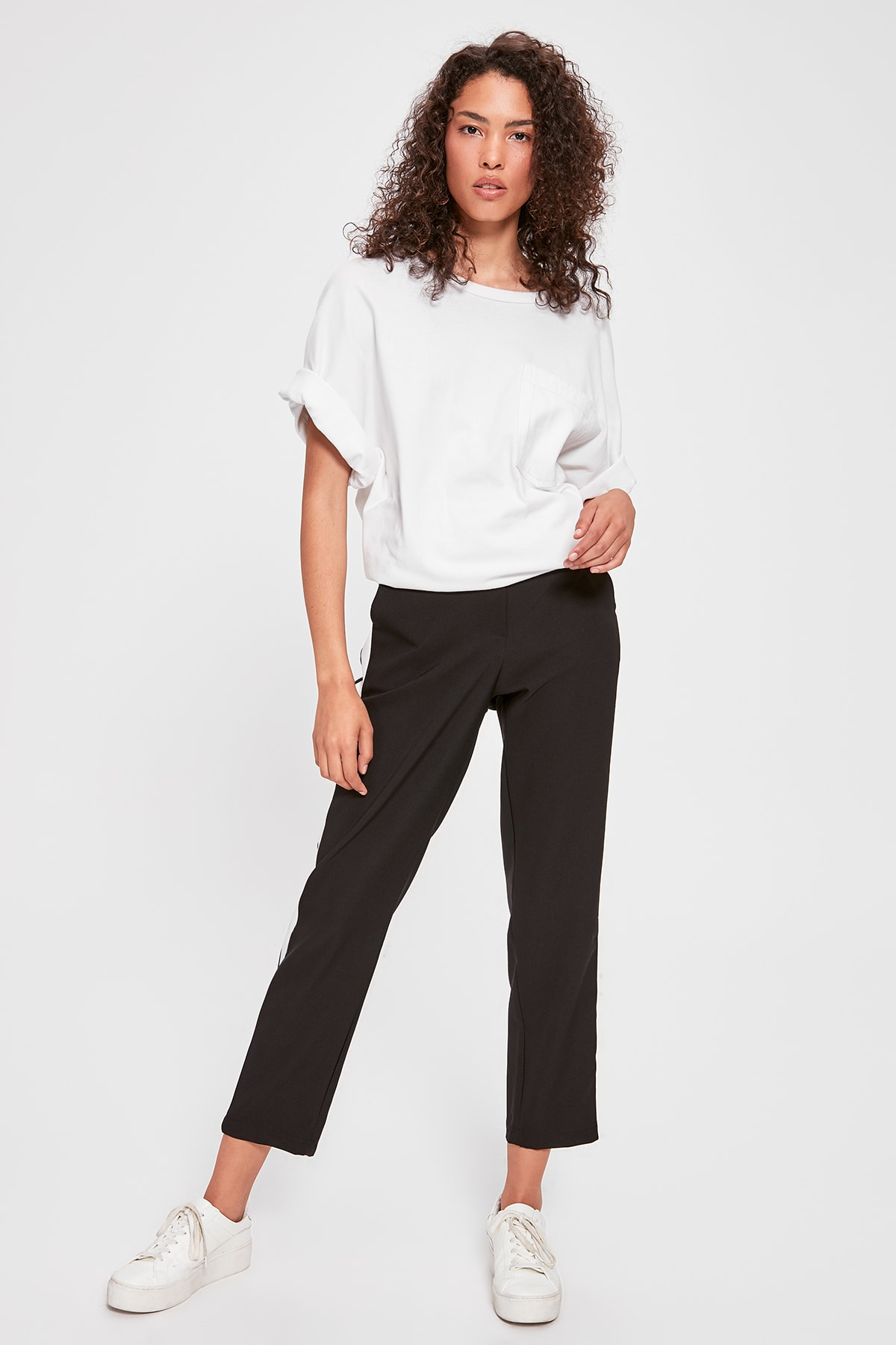 Trendyol Black With Color Block Pants TWOAW20PL0365