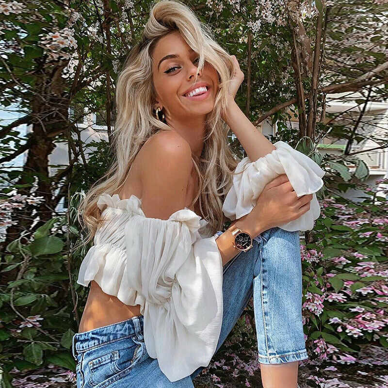 New Fashion Dames Chiffon Lange Puff Mouwen Off Shoulder Crop Tops Blouses Losse Casual Blouse Lady Sexy Hot Koop Corp top Shirt
