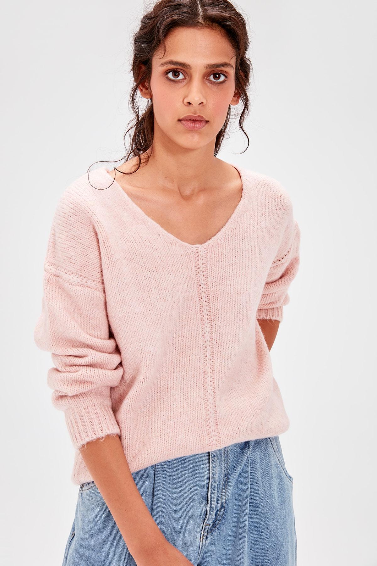 Trendyol Powder V-Neck Knitwear Sweater TWOAW20JK0037