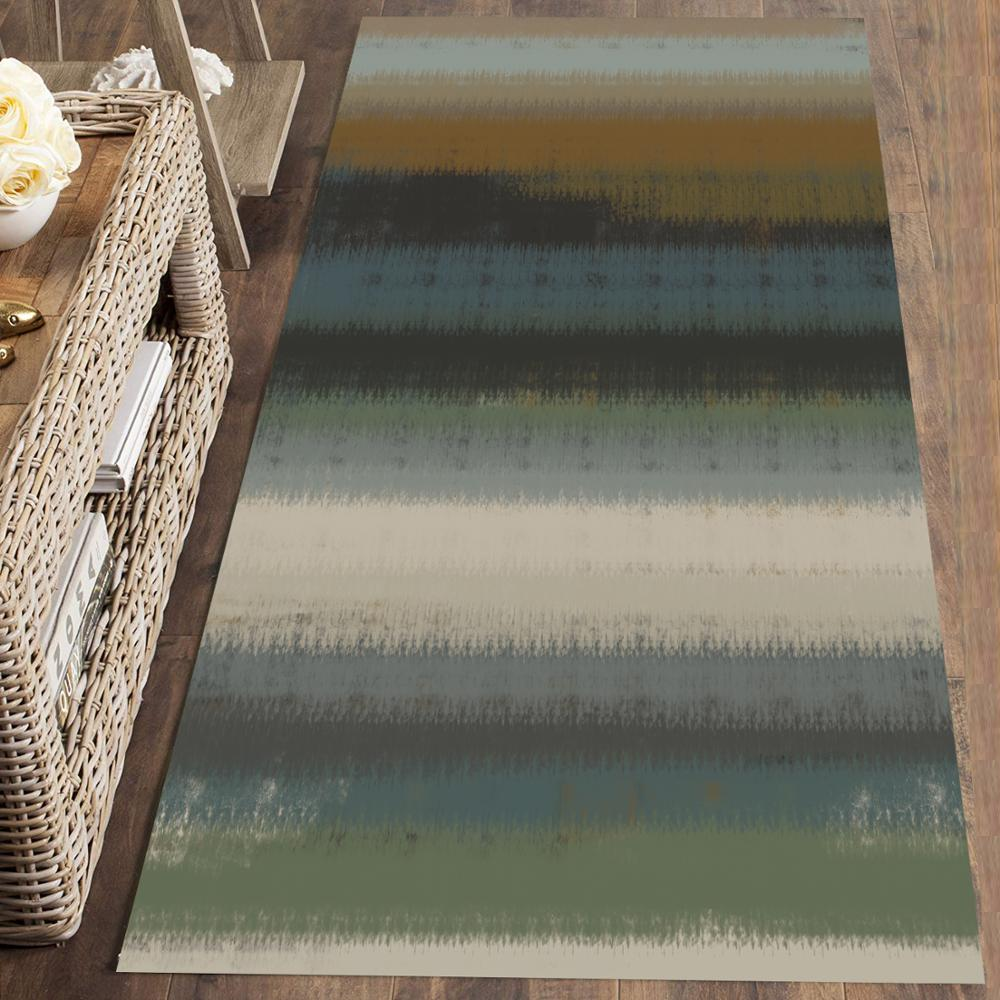 Else Green Brown Gray Stripes Modern Nordec 3d Print Non Slip Microfiber Washable Long Runner Mat Floor Mat Rugs Hallway Carpets