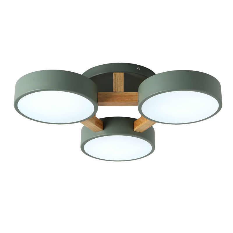 الحديثة بسيطة الشمال 220 فولت LED ضوء السقف أبيض رمادي أخضر مظلة معدنية مصباح خشبي غرفة نوم غرفة المعيشة فيلا فندق قلادة Lig