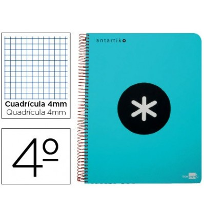 SPIRAL NOTEBOOK LIDERPAPEL A5 ANTARTIK HARDCOVER 80H 100 GR TABLE 5MM MARGINED TURQUOISE