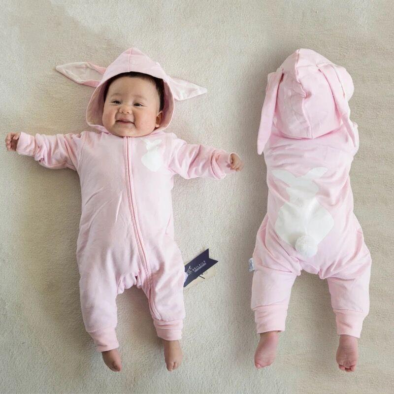 Pink Rabbit Ears Pompom Baby Jumpsuit
