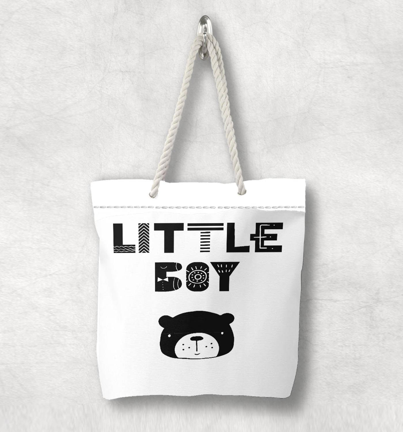 Else Black White Little Boy Bear Nordic Scandinavian White Rope Handle Canvas Bag  Cartoon Print Zippered Tote Bag Shoulder Bag