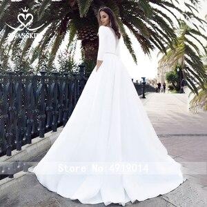Image 2 - Suknia ślubna satynowa z długim rękawem 2020 Swanskirt kryształowy pas z kieszonką suknia ślubna księżniczka Vestido de novia TZ27