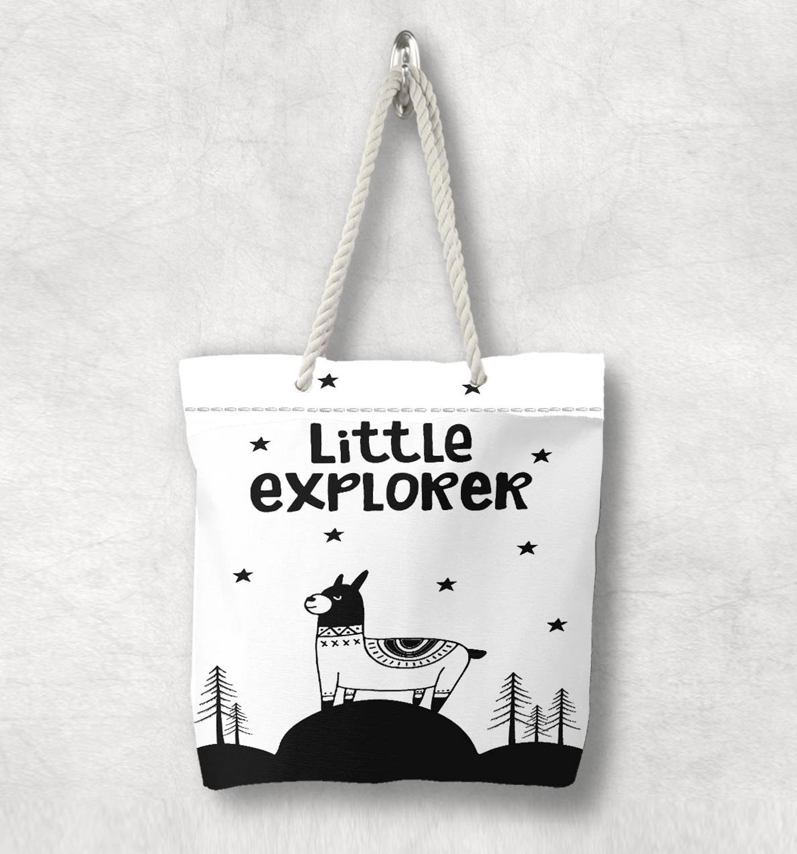 Başka bir siyah beyaz Lama küçük kaşif İskandinav beyaz halat kolu kanvas çanta karikatür baskı fermuarlı Tote çanta omuzdan askili çanta