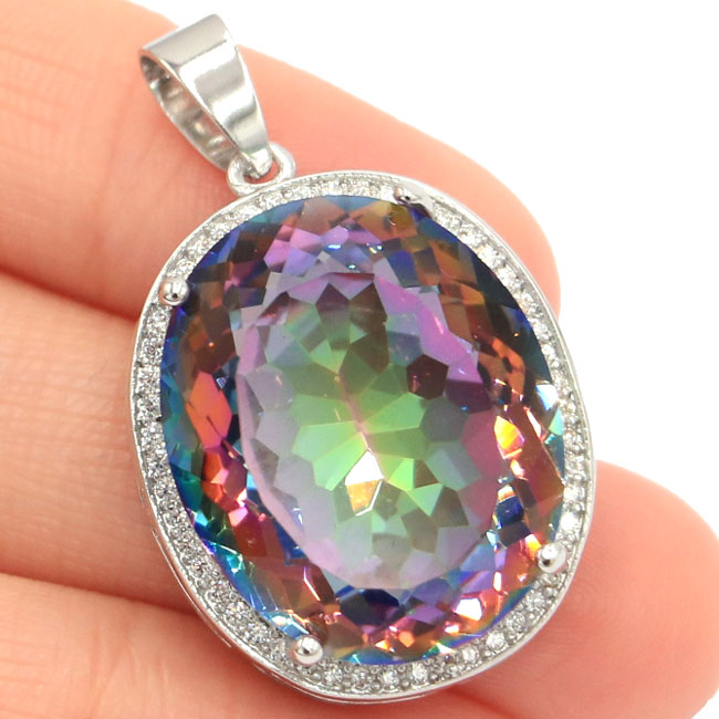25x20mm Big Oval 22x18mm Gemstone Fire Rainbow Mystic Topaz Natural CZ Gift For Girls Silver Pendant