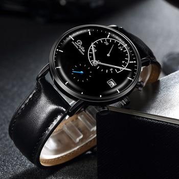 Black Skeleton Leather Mechanical Stainless Steel Wrist Watch 1