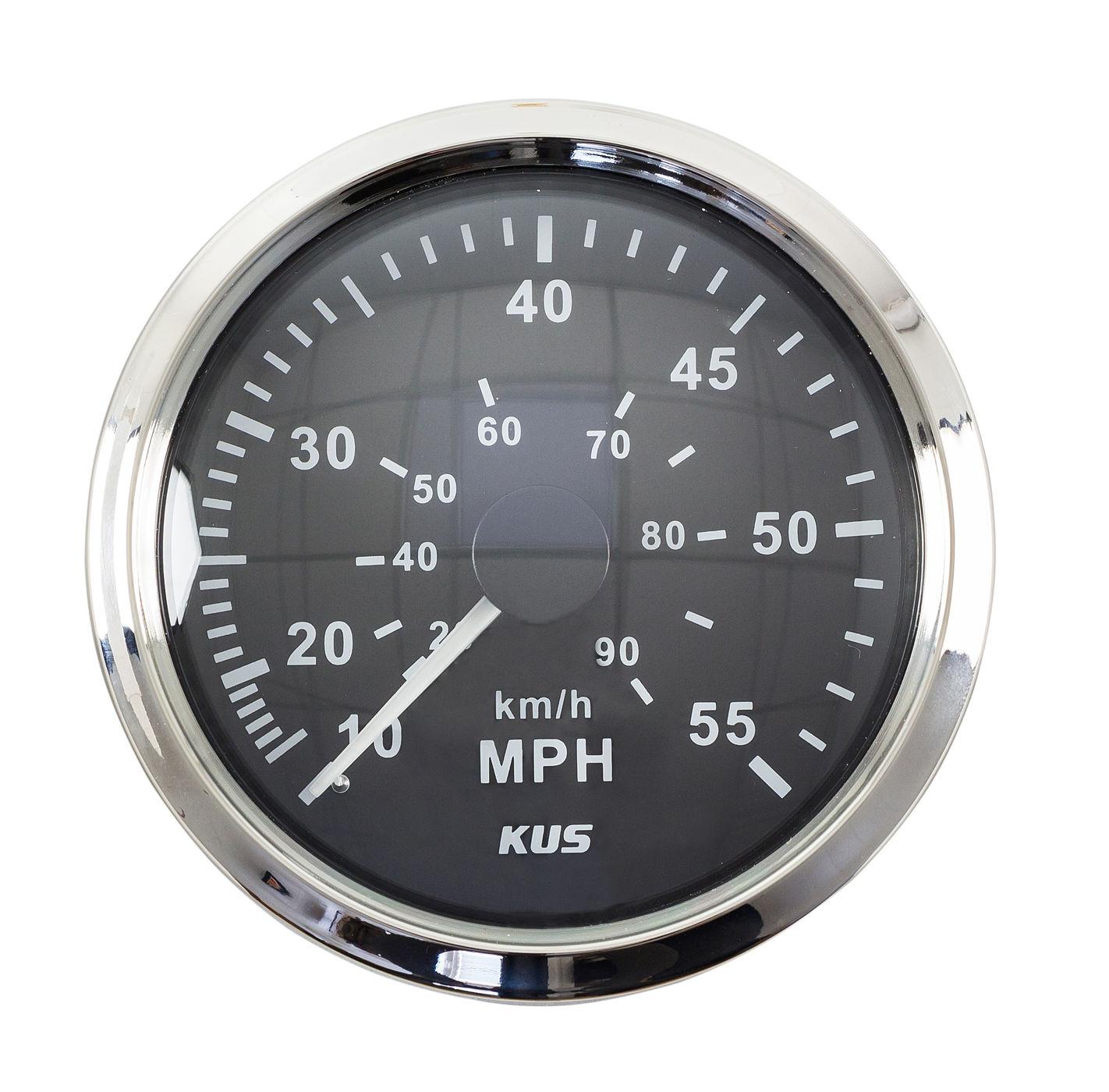 Indicateur de vitesse 0-55 mi/h, cadran noir lunette en acier inoxydable, etc. 85mm KY18002