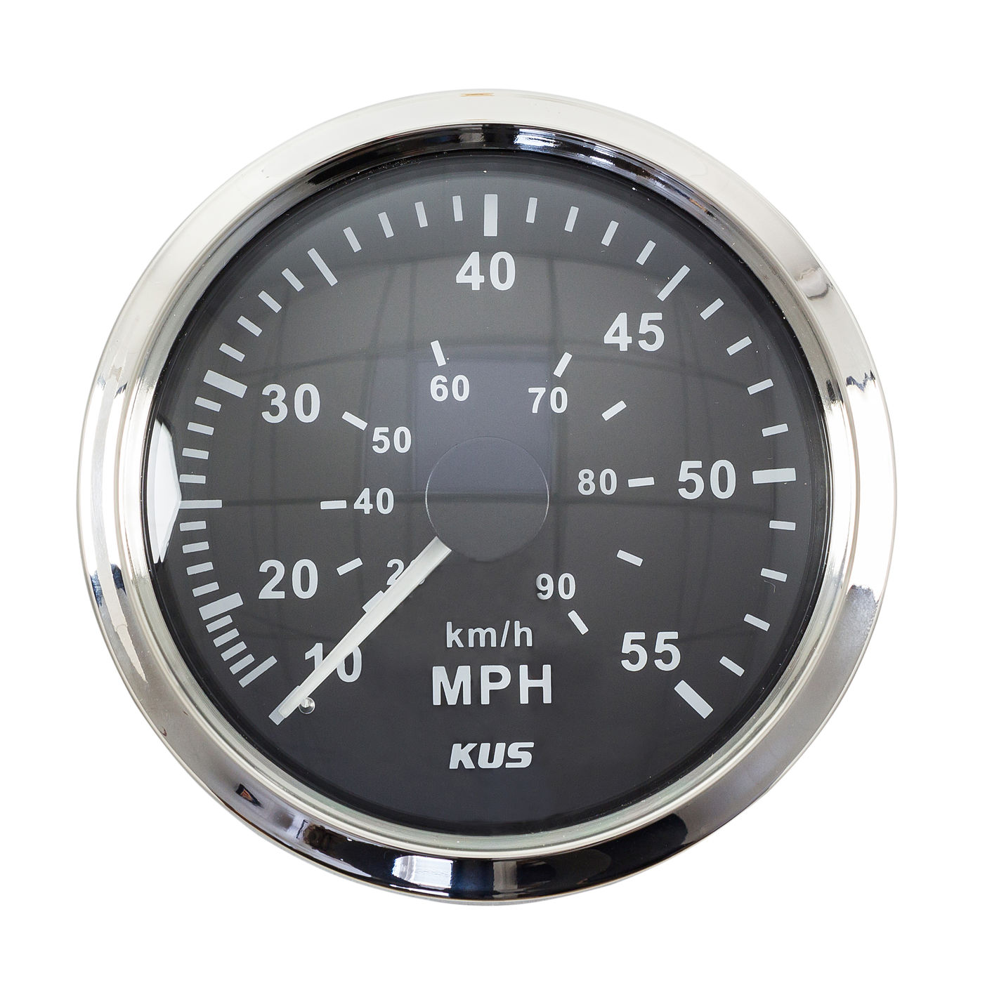 Snelheidsmeter Gauge 0-55 Mph, Zwarte Wijzerplaat Roestvrij Staal Bezel, Etc. 85 Mm KY18002