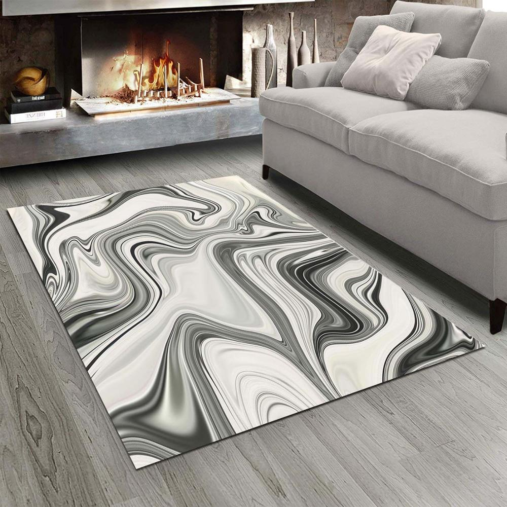 Else Gray Marble Waves Design 3d Print Non Slip Microfiber Living Room Modern Carpet Washable Area Rug Mat