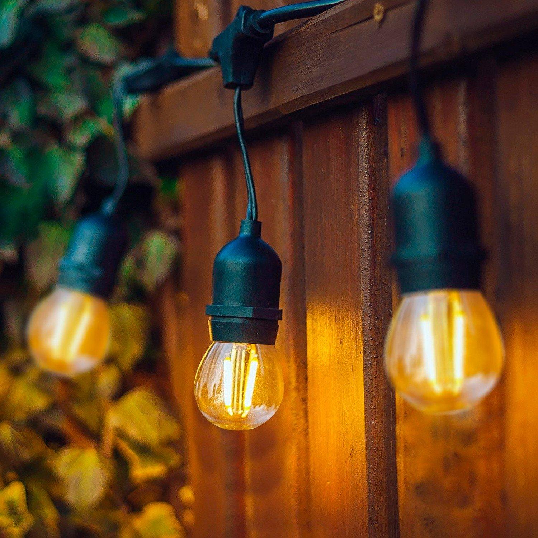 Ropelight Kit Waterproof 5.5m Black + 8 LED Light Bulbs E27 Filament 4W
