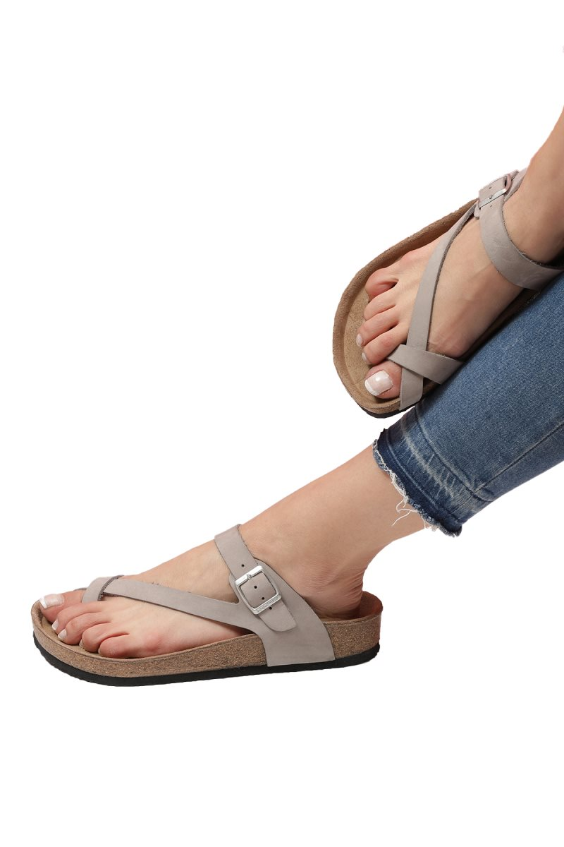 LARISSA Stone Flip-Flops Anatomical Natural Cork Sole Real Leather Women Sandals