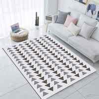 Alfombrilla de alfombra moderna lavable decorativa para sala de estar de microfibra antideslizante impresión 3d Nordec geométrico Boho con puntas blancas y grises