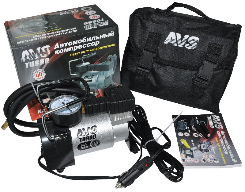 Автомобильный компрессор AVS Turbo KA580 - мощный мотор, точный манометр, автоматическая система защиты от перегрева,