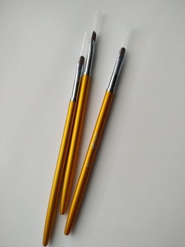 3 Size Nail Art Gold Round Top Painting Brush Set Gel Polish Tips Extending Coating 3D Petal Flower DIY Drawing Shaping Pens Kit reviews №7 161363