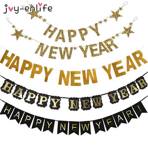 Glitter Happy New Year Banner 2021 New Year Party Decorations Black Gold Bunting Garland New Year's Eve Christmas Backdrop Decor