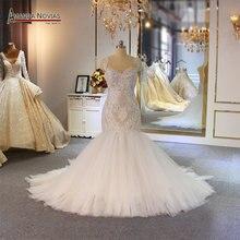 Amanda Novias syrenka suknia ślubna specjalne koronki frezowanie sukienka dla nowożeńców