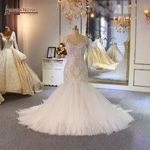 אמנדה Novias בת ים חתונת שמלת מיוחד תחרה ואגלי כלה שמלה