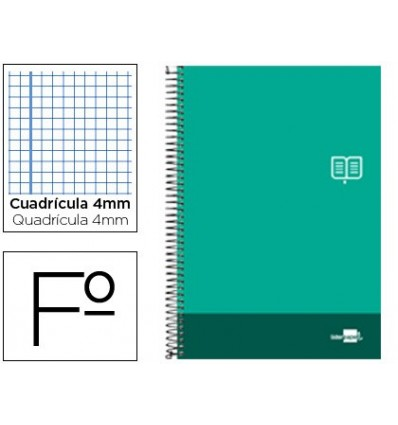 SPIRAL NOTEBOOK LIDERPAPEL FOLIO DISCOVER SOFTCOVER 80H 80 GR TABLE 4MM WITH MARGIN PINE GREEN COLOR 5 Units