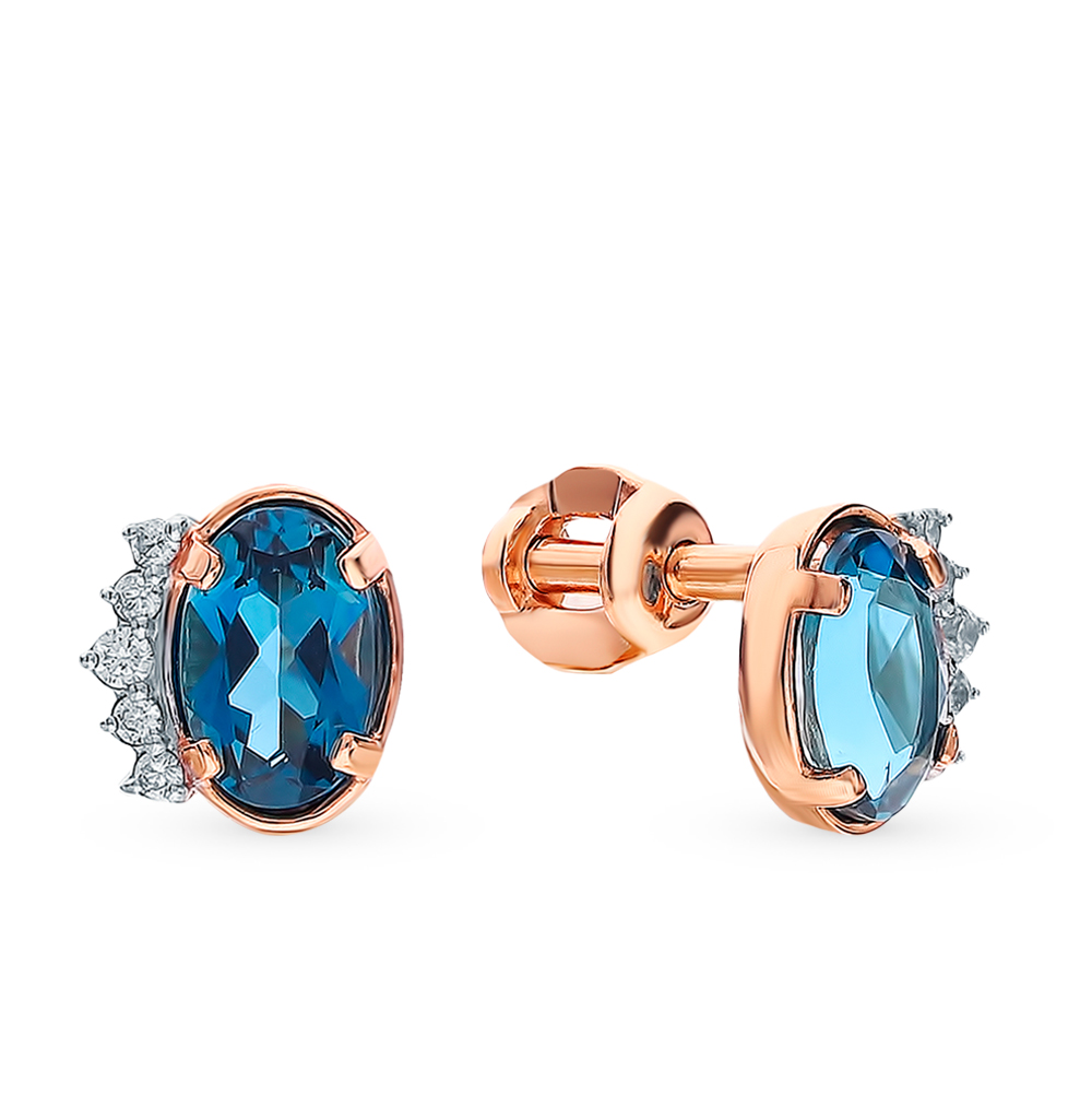 Gold Earrings With Topaz And Cubic Zirconia SUNLIGHT Test 585